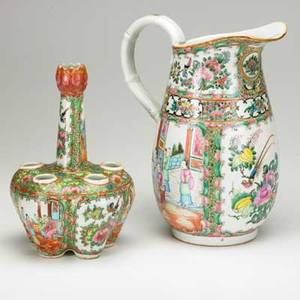 Chinese rose medallion fivesection crocus pot and water pitcher 19th c pitcher 11 38