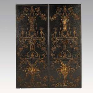 Pair of asian panels gilt and lacquer decoration mounted as wall panels 20th c 28 x 72