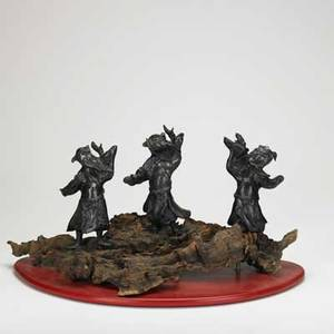 Japanese figural bronze three warriors mounted on contemporary driftwood base 19th20th c 13 12 x 22 x 14