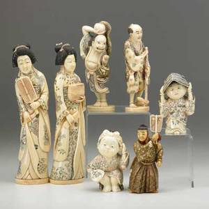 Asian carved ivory seven figures with polychrome decoration 20th c two geishas japanese warrior two children magician with dragon and farmer with pipe all signed tallest 8 12