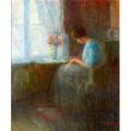 Emil oelinden german 18751934 oil on canvas portrait of a woman by a window 1909 framed signed and dated 32 x 26
