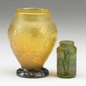 Daum two acidetched art glass vessels 20th c engraved and gilt decorated vase with silver foot rim and mini vase with landscape both signed and marked larger 3 34