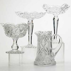 American brilliant period cut glass four items early 20th c three compotes and a water pitcher tallest 10
