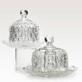 American brilliant period cut glass two cheese domes with underplates early 20th c taller 7 34 x 8 12
