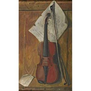 American trompe loeil oil on canvas still life in the style of harnett with violin and sousa sheet music late 19th c framed 28 x 17 12