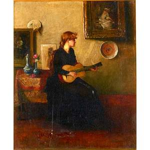 19th c french interior scene oil on canvas of a woman playing guitar framed 17 x 14
