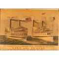 Currier  ives american 19th c color lithograph steamers st john  drew framed 28 x 38 sheet