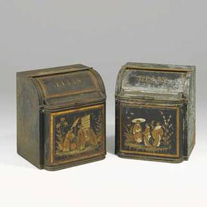 Pair of toleware tea cannisters gilt chinoiserie decoration 19th c 22 x 19 x 16