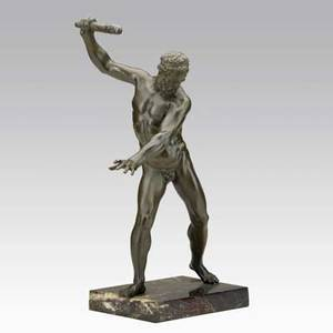 Mythological bronze hercules on marble base 20th c 17 with base