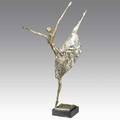 Esther wertheimer canadian b 1926 polished steel sculpture of a ballerina on marble base unsigned 38 12 x 9 x 24