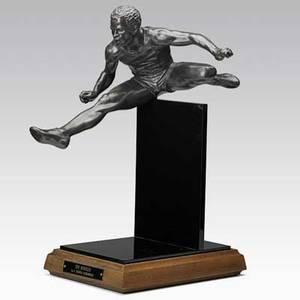 Thomas schoenberg american 20th c bronze sculpture the hurdler on wood base signed 19 x 7 x 14