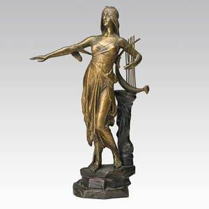 Edouard drouot french 18591945 bronze sculpture of a woman with a lyre 20th c signed 13 34 x 4 12 x 7