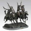 After frederic remington american 18611909 bronze sculpture coming through the rye on marble base late 20th c 31 x 26 x 26