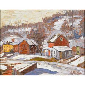 John kane scottishamerican 18601934 oil on canvas lambertville winter scene framed signed 11 x 14