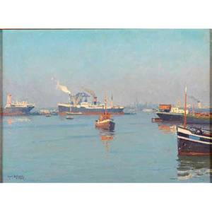 Henk dekker dutch 18971974 oil on canvas of a rotterdam harbor scene 1968 framed signed and dated 12 x 15 34