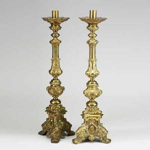 Pair of brass altar candlesticks 19th c 31