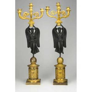 Pair of french dore bronze candelabra 6arm with patinated winged goddess 19th c 36 12 provenance estate of pearl s buck