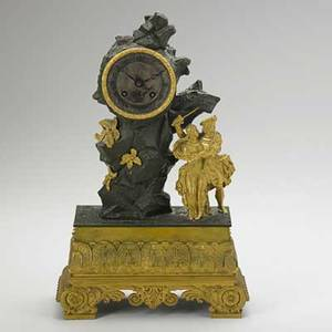 Dore bronze figural clock man defending a woman electrified 19th c missing crystal 16 12 x 10 x 4