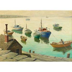 George a bradshaw american 18801968 oil on canvas of gloucester harbor framed signed 26 x 36