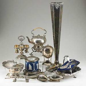 Antique silverplate twelve items 19th20th c jasperware biscuit jar egg epergne with gilt bowls egg coddler with burner floor vase with grapevine motif 2 sheffield fish servers telescoping
