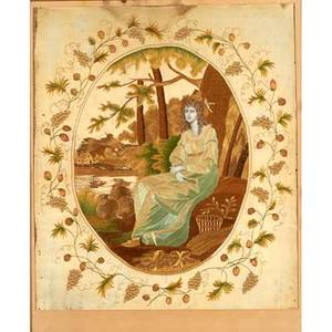 English embroidered silk needlework woman seated in a pastoral setting in period gilded frame 19th c sight 20 x 24