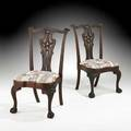 Pair of chippendale style side chairs mahogany frames with slip seats 19th c 42 34 x 24 12 x 19 12