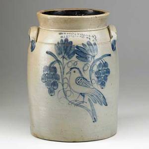 Cowden  wilcox stoneware jar 3gallon jar decorated with a bird on a branch surrounded by grapes harrisburg pa late 19th c 12 34 x 8 12