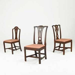American chair group two philadelphia chippendale and one federal period in mixed woods with slip seats ca 17601800 largest 39 x 20 x 17 14