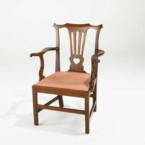 American chippendale armchair walnut with heart shaped cutout ca 17601780 39 x 28 12 x 20 12