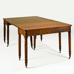 Federal dining table twosection in mahogany on turned fluted legs early 19th c 29 34 x 82 x 46 12
