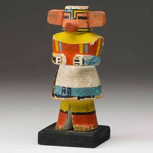 Hopi corn kachina doll cottonwood with polychrome decoration attached ears and snout mid 20th c 7 x 3
