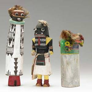 Hopi and acoma kachinas two hopi and one acoma all in cottonwood with polychrome decoration 20th c one hopi signed f shendo tallest 13
