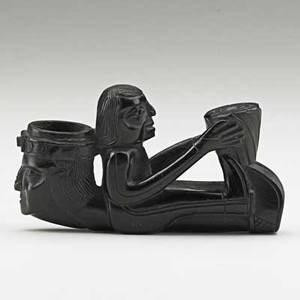 Haida argillite figural pipe bowl formed with mans head stem a full figure man 19th c 5 x 2 34