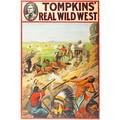 Tompkins real wild west posters four by the donaldson lithograph company with a native american chief cowboys on bucking horses stagecoach shoot out and log cabin shoot out ca 1914 all 20 x 30