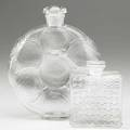 Lalique two bottles ca 1925 relief perfume bottle for forvil and chypre for houbigant both with molded mark taller 5 34