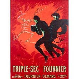 French advertising poster broadside color lithograph poster triple sec fournier ca 1930 framed imp p vercasson paris 62 x 48 sheet