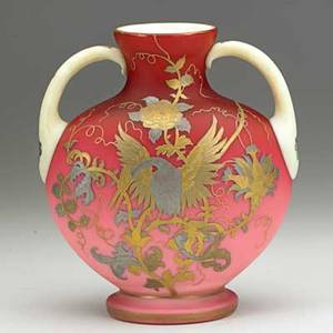Thomas webb attr doublehandled peachblow vase with gold and silver phoenix and floral vine decoration late 19th c 8