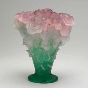 Daum large patedeverre roses vase in original box late 20th c signed 12
