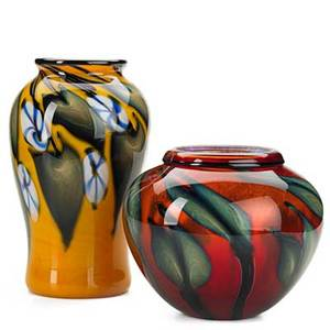 Charles lotton glass two vessels multiflora vase in orange with blue and white florals and ruby glass vase with vines and iridescent interior 19982000 signed and dated taller 11 x 6 12 dia