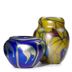 Charles lotton glass two vessels with iridescent vines 19992004 signed and dated taller 10 x 8 dia