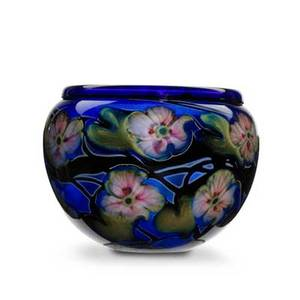 Charles lotton glass large multiflora bowl in cobalt blue with pink florals 1997 signed and dated 9 x 12 dia