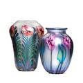 Charles lotton glass two multiflora vases in iridescent bluegold with full length pink florals 2002 signed and dated taller 9 12