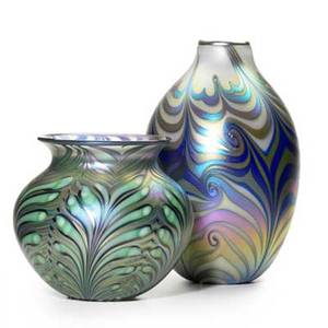 Charles lotton  daniel lotton glass two vessels with iridescent pulled feather decoration 20032006 signed and dated taller 12 x 7 dia