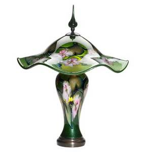 Charles lotton glass multiflora lamp in aventurine green over gold lustre with pinkwhite florals and green vines 1998 signed and dated overall 28 12 x 22 dia