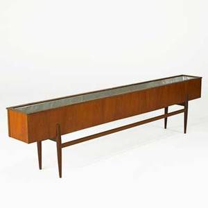 Scandinavian modern long planter 1960s teak and metal liner stamped made in norway 20 x 79 x 10