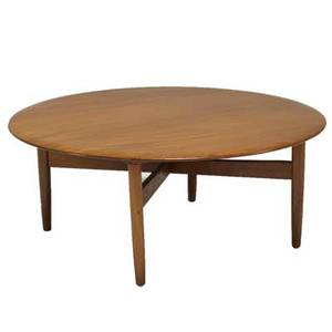 Danish modern walnut coffee table 1960s unmarked 16 x 38 12 dia