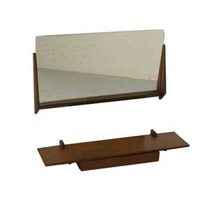 Aksel kjersgaard odder wall console and mirror denmark 1960s teak mirrored glass branded mirror 18 x 32 12 console 3 x 35 x 9 12
