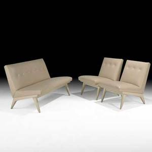 Jens risom settee and pair of lounge chairs usa 1950s painted wood leather unmarked settee 31 x 49 12 x 29 chair 31 x 24 x 29