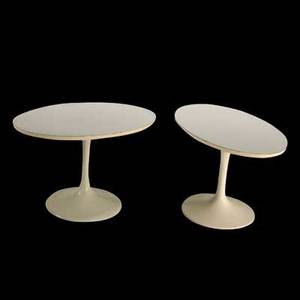 Burke pair of tulipstyle side tables usa 1960s painted metal and laminate unmarked each 15 x 23 x 15