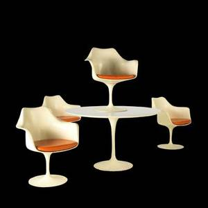 Eero saarinen knoll international tulip dining table and four swivel armchairs usa 1970s laminate painted castiron painted fiberglass and vinyl chairs are labeled table 29 x 48 dia each